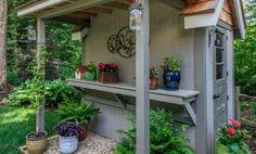 18 Most Popular Garden Pots And Planter Boxes Landscape Design Ideas Guide Backyard Storage Sheds, Storage Shed Plans, Garden Shed Exterior Ideas, Le Hangar, Old Sheets, Modern Shed, Pinterest Garden, Potting Sheds, Shed Design