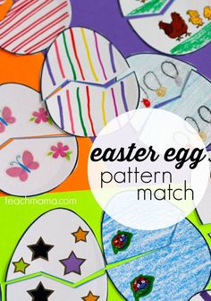 For a great Easter activity idea for kids, try this Easter egg pattern match game for your littlest kids! They can decorate, cut and match! #teachmama #easter #eastercrafts #easteractivities #funcrafts #seasonal #eastereggs #kidsactivities #toddleractivities