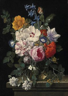 "Nicolaes van Veerendael ""Flowers in a glass vase, butterfly and beetle on a stone ledge"" (17th century)"