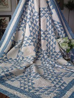 """Gorgeous! ANTIQUE c1880 Cadet Blue & White Ocean Waves QUILT 81"""" x 73"""""""