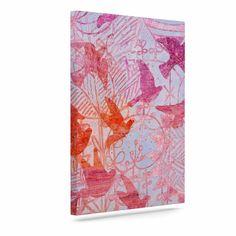 "Marianna Tankelevich ""Bird's Dream"" Lavendar Pink Outdoor Canvas Art"