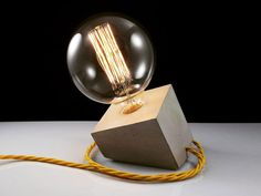 Concrete Lamp Tilted Cube Lighting Classic