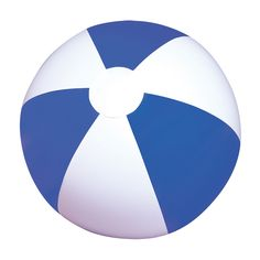 Blue and White Inflatable Beach Ball Made out of high quality rubber featuring blue and white panels and professionally sealed for durability.