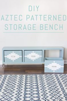 DIY Home Decor Ideas : Illustration Description Build your own Aztec patterned storage bench! With just a few basic tools and supplies, this is an easy build that can be done in a weekend. Diy Home Decor Projects, Easy Diy Projects, Furniture Making, Diy Furniture, Furniture Storage, Furniture Design, Diy Storage Bench, Diy Bench, Bench Seat