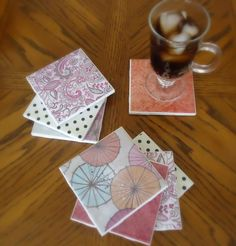 Learn how to make these cute, cheap and easy coasters using ceramic tiles and scrapbook paper. Plus how to make homemade Mod Podge for this project too! Tile Projects, Diy Craft Projects, Craft Ideas, Project Ideas, Crochet Projects, Diy Ideas, Idées Mod Podge, Diy Tuiles, Leftover Tile