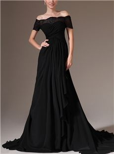 Gorgeous Off The Shoulder Lace Up A Line Floor Length Evening Dress