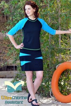 Spliced with a burst of sea blue, this modest swim skirt with built-in shorts is slimming & stylish, $78.