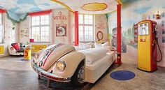 V8 Hotel, Stuttgart, Germany Set in a former airport site, this automotive themed hotel will be sure to impress any car lover with its extensive collection of classic models. Every room pays close attention to detail and are uniquely designed and decorated to match each individual theme.  Drift off into dreamland in one of these exclusive vehicles!   https://ther8.com/boeblingen-v8-hotel-motorworld-region-stuttgart
