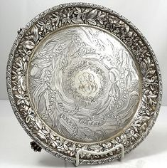 antique sterling Jenkins and Jenkins salver with lily of the valley engraved
