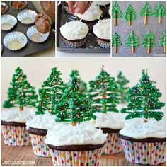 Celebrate the holiday season with a quick and easy recipe for chocolate cupcakes with edible Christmas tree toppers! Christmas Cupcakes Decoration, Christmas Tree Cupcakes, Cute Christmas Tree, Christmas Goodies, Christmas Candy, Christmas Treats, Holiday Treats, Holiday Foods, Christmas Time