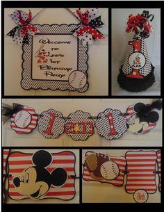 Mickey Mouse Baseball Birthday Petite by ASweetCelebration Baseball First Birthday, Mickey Birthday, Mickey Party, Baby First Birthday, Birthday Fun, First Birthday Parties, First Birthdays, Baseball Party, Birthday Ideas