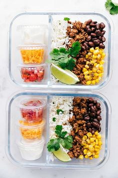 25 Healthy Meal Prep Ideas To Simplify Your Life Taco Bowl @ Chelsea's Messy Apron: From protein-packed to vegetarian-friendly, these are the perfect healthy meal prep ideas to prep on Sunday in less than 30 minutes! Easy Healthy Meal Prep, Easy Healthy Recipes, Healthy Cooking, Healthy Snacks, Healthy Eating, Snacks Recipes, Healthy Protein, Protein Foods, Nutritious Meals