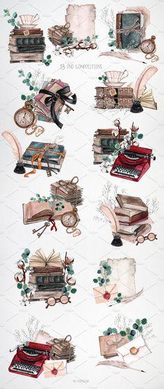 Polaroid Vintage, Scrapbook Vintage, Antique Books, Vintage Books, Vintage Art, Clipart Vintage, Journal Stickers, Scrapbook Stickers, Book Wallpaper