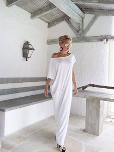 White Maxi Dress / Kaftan / Plus Size Dress / Summer Dress / Asymmetric Dress / Long Dress / Oversized Dress / Elegant Dress / #35022 This elegant, sophisticated, loose and comfortable maxi dress, looks as stunning with a pair of heels as it does with flats. You can wear it for a