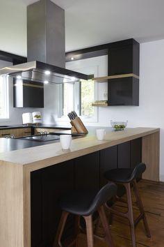 Cuisine Contemporaine Blanche Noir Et Bois Frigo Et Lave Vaisselle