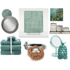 Bird Bath by aduelge on Polyvore featuring interior, interiors, interior design, home, home decor, interior decorating, Kassatex, Kiss That Frog, Gianna Rose Atelier and Sonoma life + style