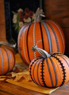 Pumpkins with ribbon & ric rac - - you could also use Washi tape.