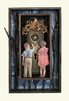 Look at the Moon, mixed media assemblage by Anastasia Osolin Found Object Art, Found Art, Mixed Media Boxes, Mixed Media Art, Sculpture Projects, Art Projects, Shadow Box Art, Collage Techniques, Assemblage Art