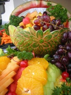 Carved fruit basket