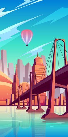 Happy Wallpaper, City Wallpaper, Scenery Wallpaper, Galaxy Wallpaper, Cartoon Wallpaper, Landscape Illustration, Landscape Art, Digital Illustration, Aesthetic Backgrounds