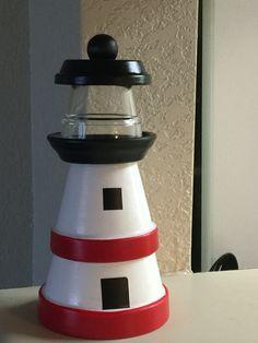 2 pot terra cotta lighthouse