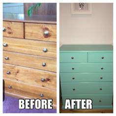 """Old chest of drawers painted """"Tiffany Blue"""" and new knobs"""