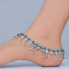 Turquoise and kundan studded silver plated anklets