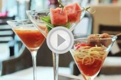3 cocktail party appetizers served in martini glasses [VIDEO]