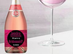 MINI CHAMPAGNE BOTTLES Labels Black and Pink by LabelByLoveArts