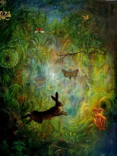 """an intruder in the forest by ~rodulfo on deviantART The Visionary artist asks themselves, """"who am I """". Its about love & peace & namaste. Fantasy Kunst, Fantasy Art, Wicca, Magick, Lapin Art, Photo D Art, Rabbit Art, Bunny Art, Art Graphique"""