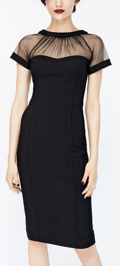 Sheer collar pencil dress
