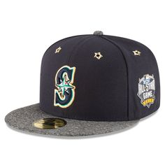f458ebc8034 Men s Seattle Mariners New Era Navy Heathered Gray 2016 MLB All-Star Game  Patch 59FIFTY Fitted Hat