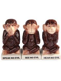 """""""No Evil Monkeys"""" Salt & Pepper Shaker w/ Toothpick Holder by Pacific Trading #inkedshop #noevilmonkeys #speaknoevil #decor #homedecor #monkeys"""