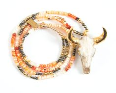 Tauro | Skull Necklace | Longhorn Necklace | Mexican Fire Opal Necklace | Cow Skull Pendant | Steer Necklace | Cattle Skull Pendant by MillerMaeDesigns Miller Mae Designs