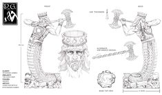 pencil drawing by christine mitzuk of genert concept for petersen games glorantha the gods war
