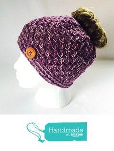 dbe095d4 Handmade Messy Bun Hat White Purple Beanie Wood Button Ponytail Runner  Crochet Multicolor https:/