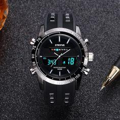 00bd9cdfe35 2018 saat Man Sports Watch Stryve Brand Military Week Clock Waterproof Men  Dual Display Quartz Digital Watch relogio masculino. Yesterday s price  US   21.45 ...