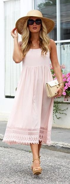 60 Lovely Chic Summer Outfit Ideas With Blush Pink