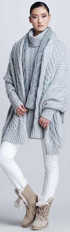 loro piana gray sweater | Loro Piana Cable Knit Cape, and sweet boots. So cozy and warm