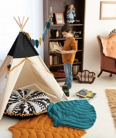boys kids room​ Boys kids room ideas, tipi tent black, seat pillow with pom poms, black white room ideas, leaf mat. Playroom Flooring, Living Room Flooring, Diy Flooring, Bedroom Flooring, Giant Floor Pillows, Square Floor Pillows, Living Room Lounge, Boho Living Room, Kids Tents