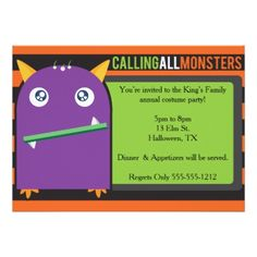 Monster Halloween Invitation! Card - Halloween happyhalloween festival party holiday
