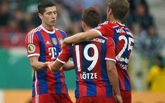 壁紙をダウンロードする トーマス-ミューラー, ロバート-Lewandowski, マリオGotze, Bayernミュンヘン, サッカー, ブンデスリーガ