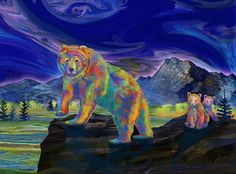 Grizzly Bear And Cubs Painting by Teresa Ascone