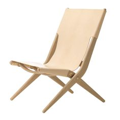 Saxe Leather Lounge Chair, Oak/Natural