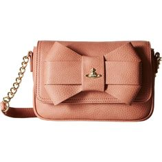 Vivienne Westwood Bow Shoulder Bag w/ Chain (Rose) Shoulder Handbags ($240) ❤ liked on Polyvore featuring bags, handbags, shoulder bags, pink, leather shoulder handbags, chain shoulder bag, pink leather purse, red leather handbags and leather shoulder bag