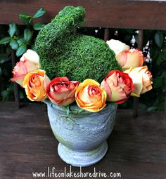 Moss Bunny and Roses in Urn Centerpiece