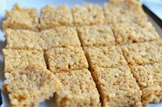 Crispy Rice Treats (Sugar Free, Gluten Free, Marshmallow free). Uses honey & peanut butter, can substitute with Almond Butter