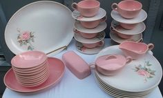 Vintage 38 Piece Set of PINK and WHITE MELMAC Dishes, Rose Accents