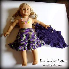 Free Crochet Pattern ~Doll Skirt http://www.niftynnifer.com/2015/04/free-crochet-pattern-dollys-spring-time.html ~W~