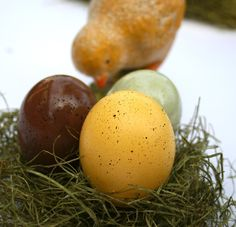 Cascarones (Confetti Eggs), FIVE DOZEN, in Yellow, Brown, and Green with Speckles. $39.75, via Etsy.